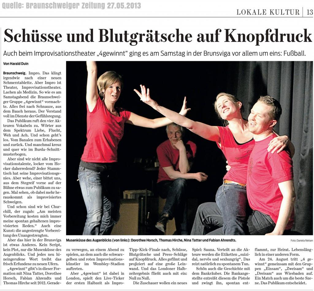 Artikel der Braunschweig Zeitung vom 27.05.2013 zu unserer Impro-Show vom 25.05.2013