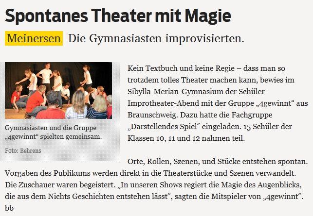 Presseartikel: Gifhorner Rundschau vom 06.09.2013 über unsere Nachwuchs-Show am SMG Meinersen