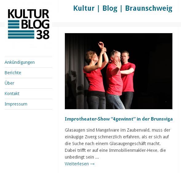 Presse: Kulturblog38 berichtet zur Impro-Show vom letzten Samstag