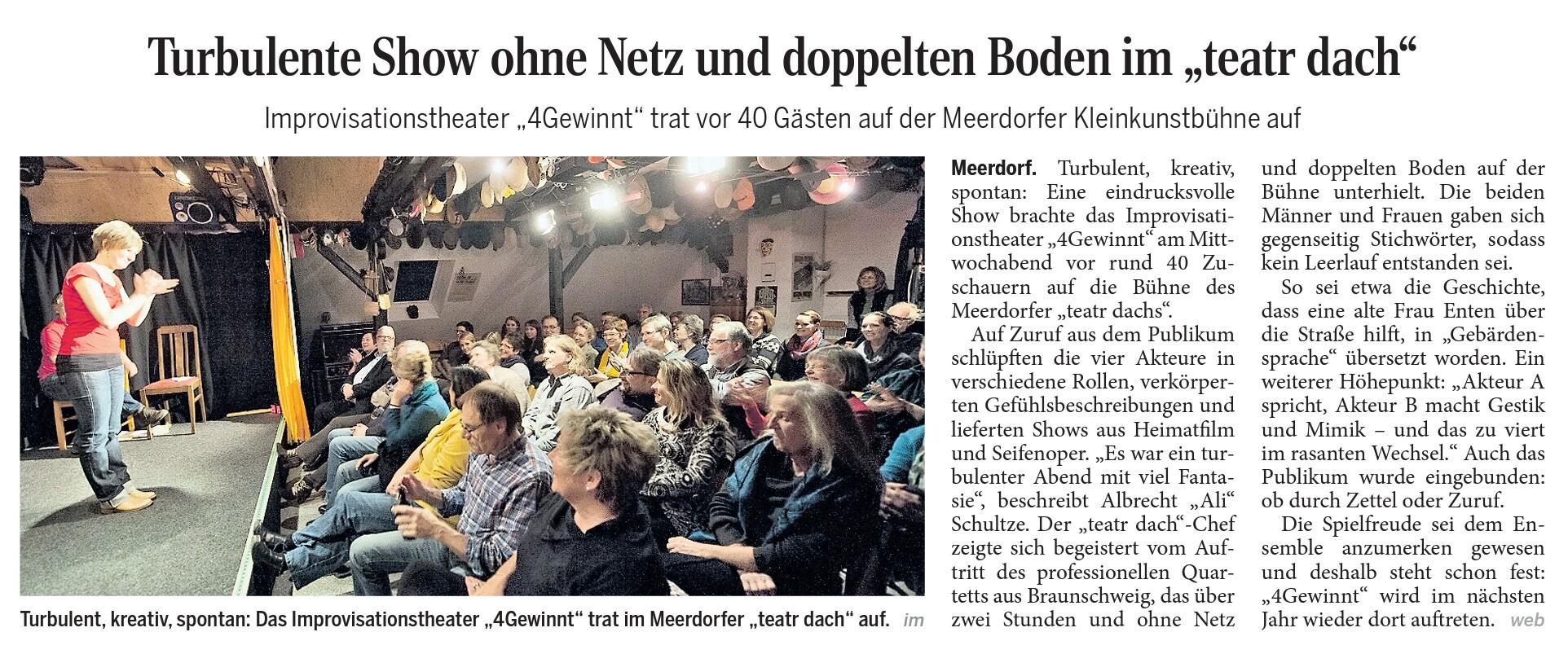Presse: Turbulente Show ohne Netz und doppelten Boden im teatr dach