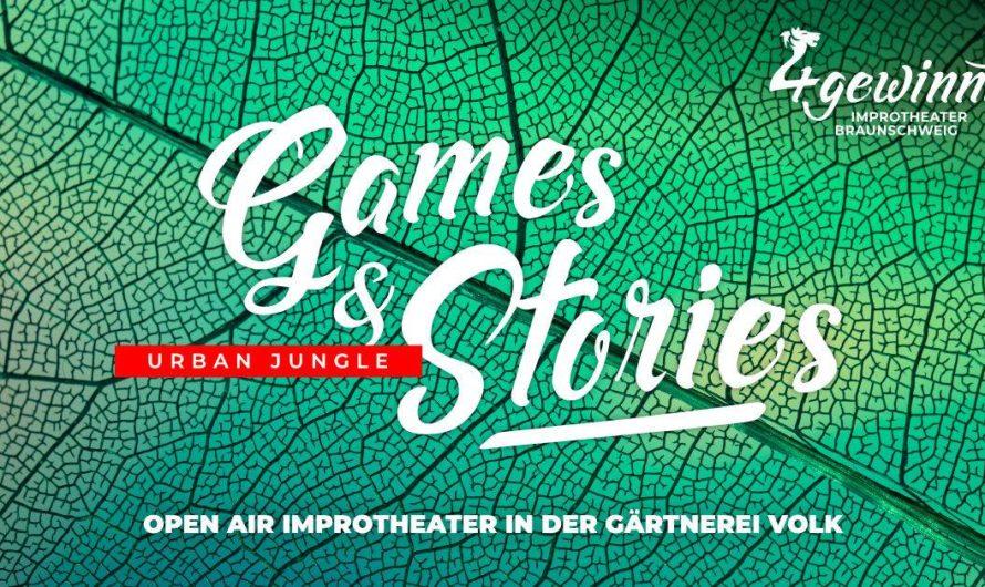 In 3 Wochen nicht verpassen: Games & Stories: Urban Jungle – OPEN AIR in der Gärtnerei Volk am Sonntag 28.06.2020 in Braunschweig