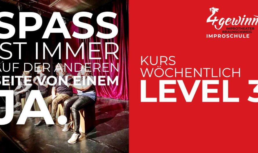 Nur noch 1 freie Plätze – Improvisieren lernen mit einem Workshop Improschule Level 3.a Kurs (10 Termine, wöchentlich Di. 19:30-21:15 Uhr) – Start sobald möglich am Dienstag 18.05.2021 in Braunschweig